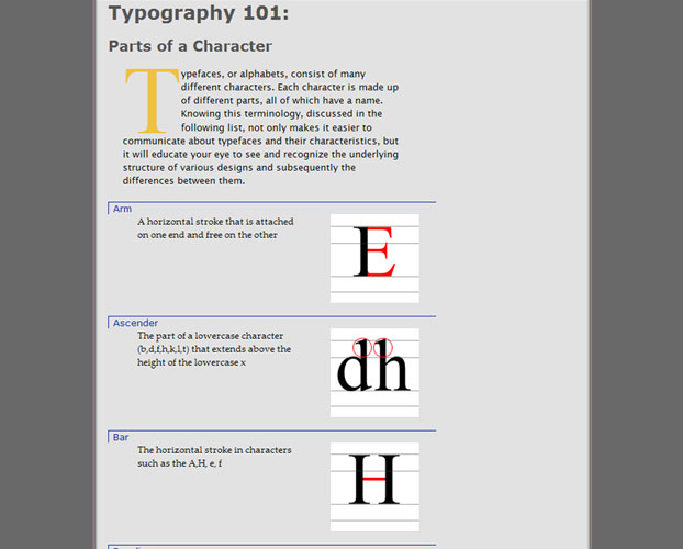 An area devoted to explaining the anatomy of type.