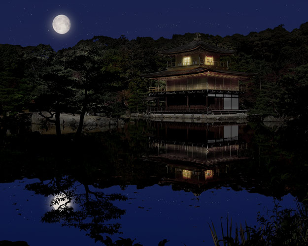 Photo of Kinkakuji after transforming it from day to night.